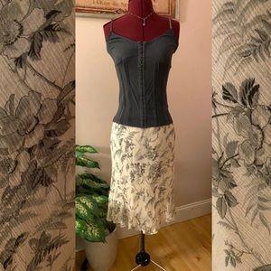 Cream and gray silk skirt